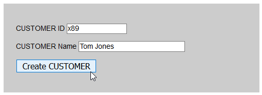 form with customer ID, name, and create customer button