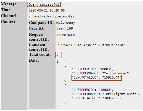 Log file contents with sample results