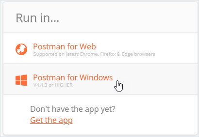 Postman open-with form