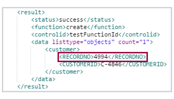 example response with customer record number