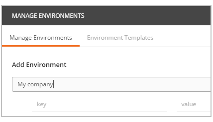 Postman add-environments field