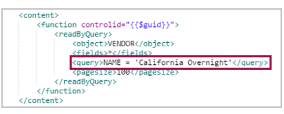 example query on vendor name