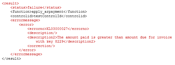 XML error response for business rule