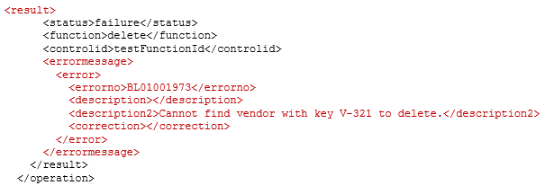 XML error response for delete with invalid key