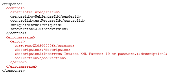 XML error response for invalid Web Services credentials